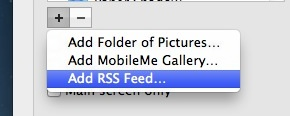 Add RSS Feed screen saver