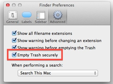 Always Use Secure Empty Trash