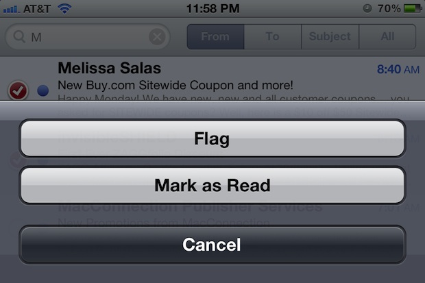bulk mark email as read iPhone