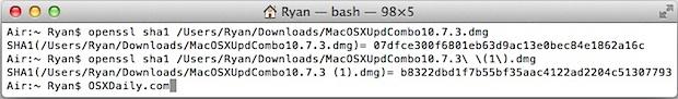 Comparing OS X 10.7.3 Updates