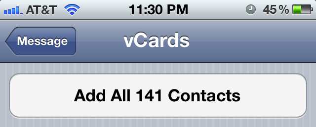 Import vCard contacts to iPhone