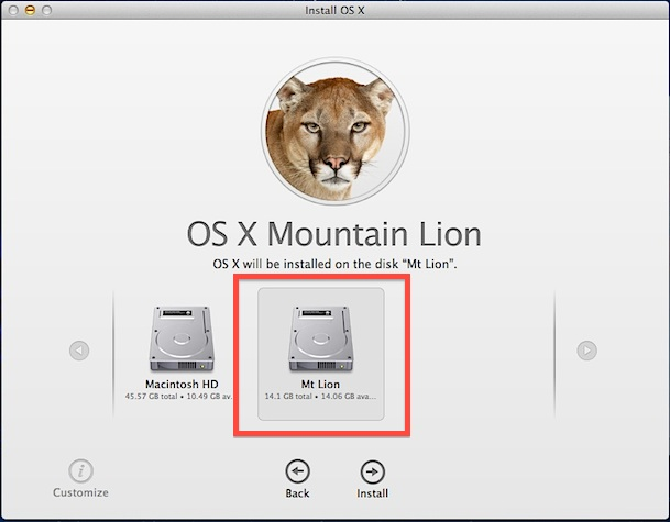 Install OS X Mountain Lion on the new partition