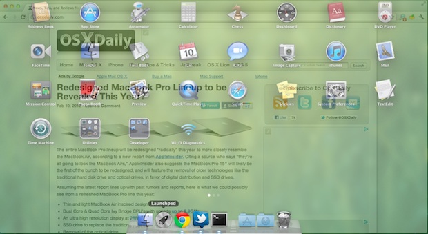 Launchpad Transition in Mac OS X Lion