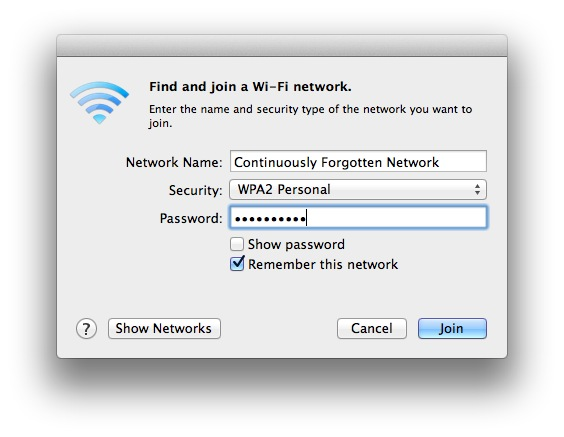 Mac OS X Forgets Wireless Network
