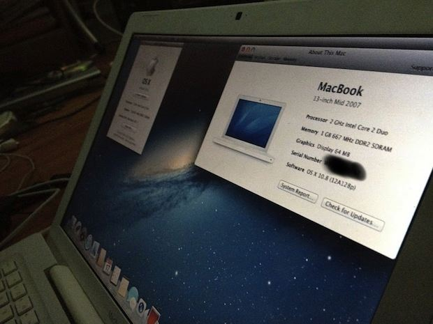 mid-2007 MacBook running OS X Mountain Lion