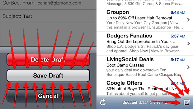 Open recent draft in iOS