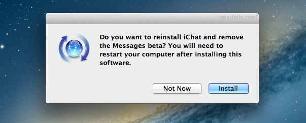 Reinstall iChat and remove Messages beta
