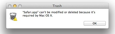 Safari Can't Be Deleted Warning Dialog