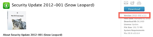 Security Update 2012-001 v1.1 for Snow Leopard
