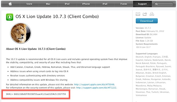 SHA1 Checksum on Apple Downloads Page