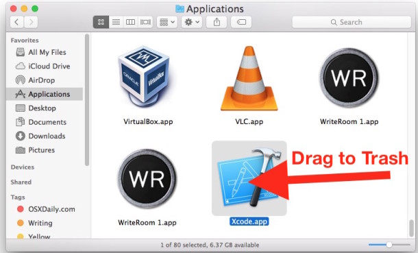 Uninstall Xcode from Mac OS X