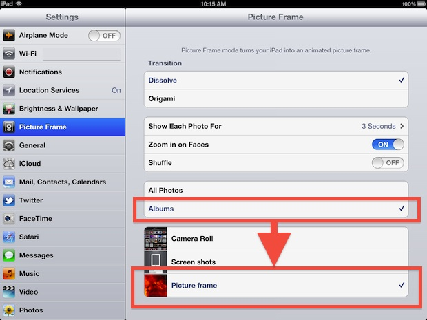 Select picture frame album for iPad