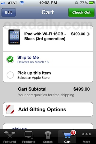 Buy iPad 3 from the Apple Store iOS app