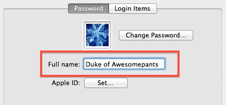 Change Login Name in Mac OS X