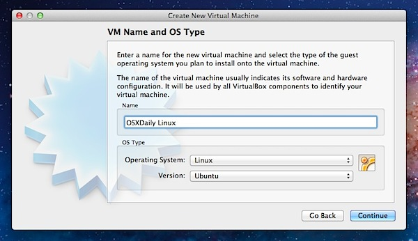 Create virtual machine for Ubuntu Linux