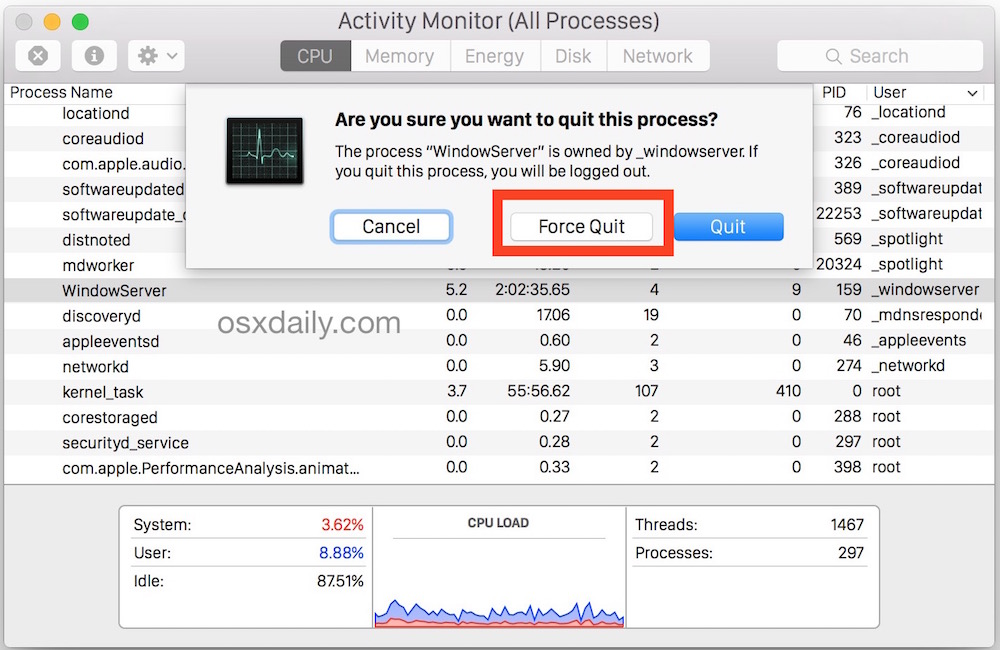 Force quit apps from Activity Monitor in Mac OS X