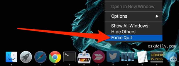 Force quit a Mac app from the Dock Icon with Option key modifier
