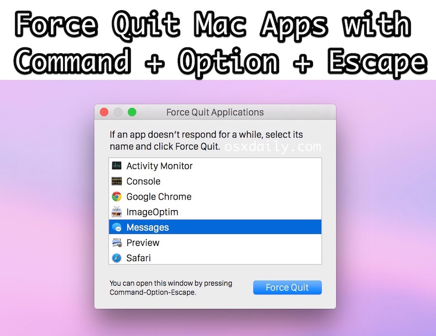 Force quit Mac applications with a keyboard shortcut