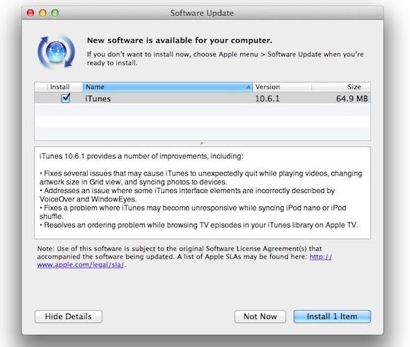 iTunes 10.6.1 update