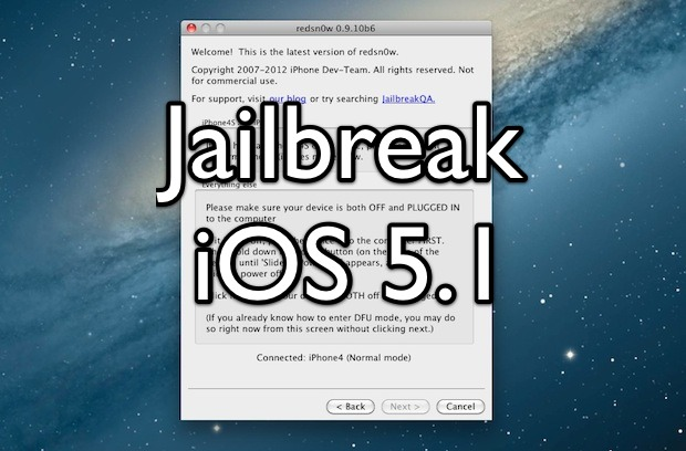 Jailbreak iOS 5.1 with Redsn0w