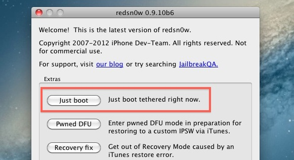 Just Boot Tethered redsn0w