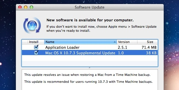 OS X 10.7.3 Supplemental Update