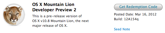 OS X Mountain Lion Developer Preview 2