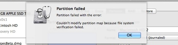 Partition Failed error