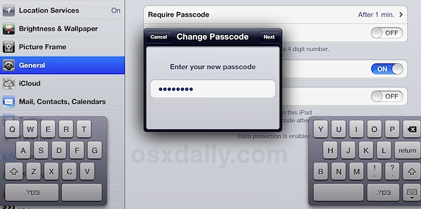 Set a secure passcode in iOS