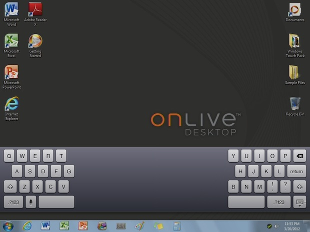 Windows on iPad with OnLive Desktop