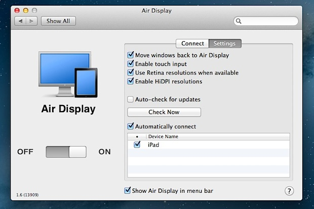 Air Display preferences in Mac OS X