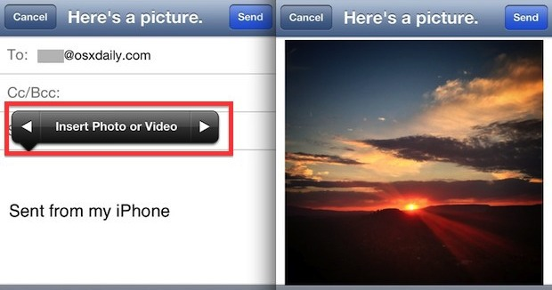 Attach a Photo to an Email, as shown on iPhone