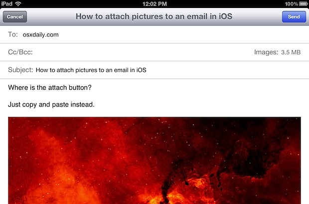 Attach Photo to Mail on iPhone, iPad, or iPod touch