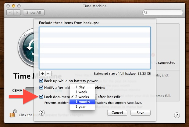 Change File Lock Duration in Mac OS X
