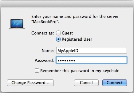 Connect to a Mac Server using an approved Apple ID