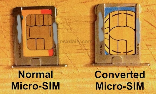 Convert a SIM card to Micro SIM by cutting it