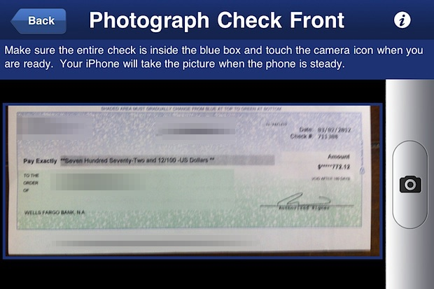 Deposit a check from an iPhone