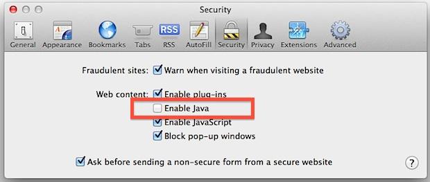 Disable Java in Safari