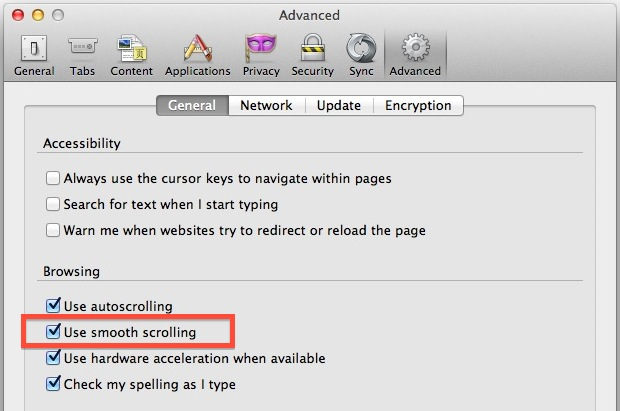 Enable Smooth Scrolling in Firefox for OS X