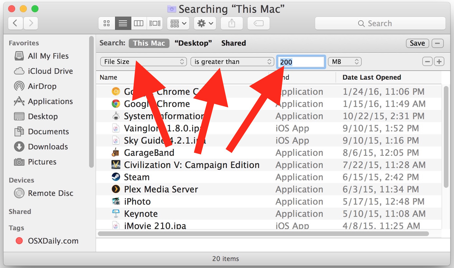 Find large files in Mac OS X with the search feature