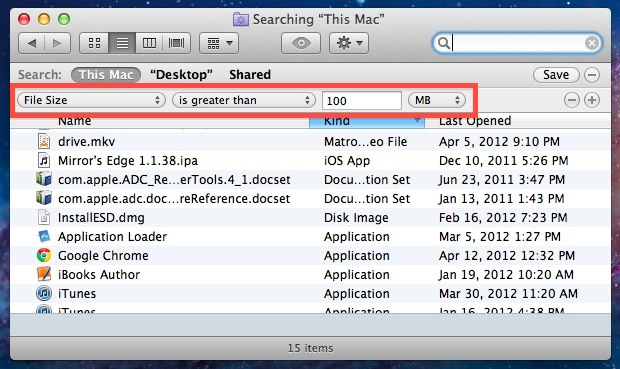 Find Large Files in Mac OS X with Search