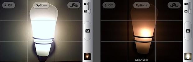 Focus and exposure lock on iPhone camera