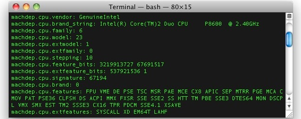 Get extended CPU information from the command line