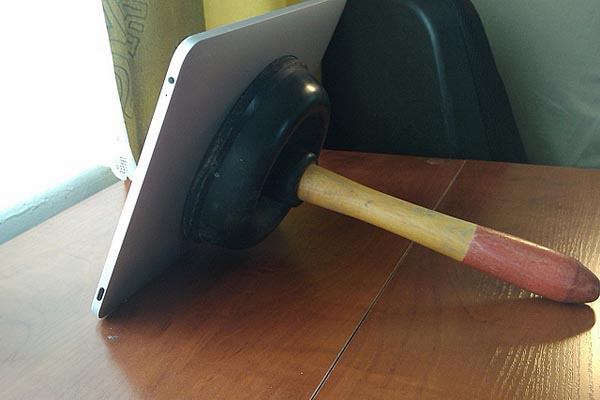 iPad toilet plunger stand