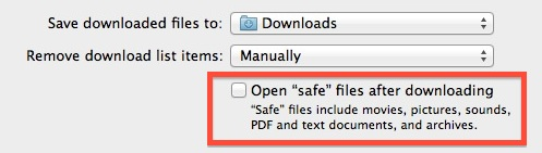 Disable Open Safe Files after downloading