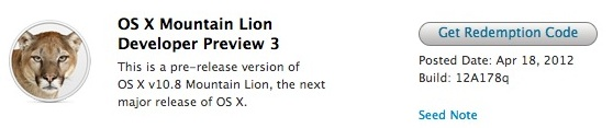 OS X Mountain Lion Developer Preview 3