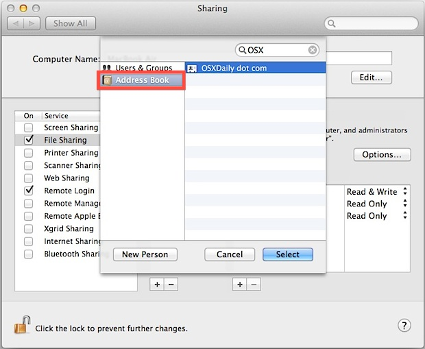 Share Files on a Mac without creating a new user account with Apple ID