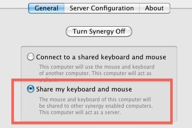 Share Keyboard and Mouse in Synergy