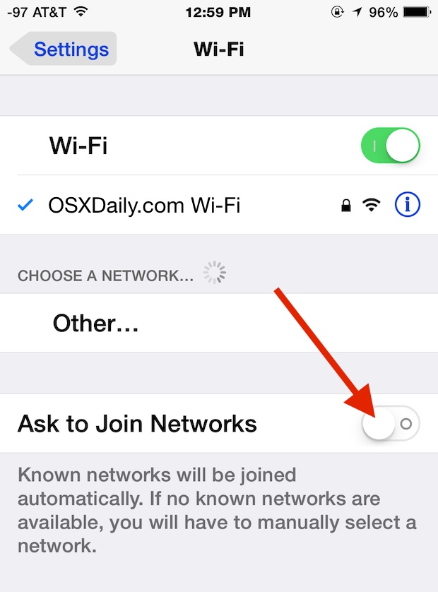 Stop the iPhone asking to join wi-fi networks