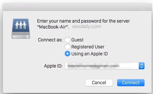 Use an Apple ID to connect to a network Mac